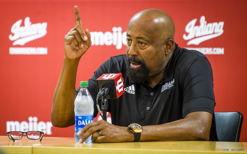 Indiana men's head coach Mike Woodson talks about having his team look at the championship banners hanging above them and letting them know that's their goal as a team during the program's NCAA college basketball media day in Bloomington, Ind., Monday, Sept. 27, 2021. (Rich Janzaruk/The Herald-Times via AP)