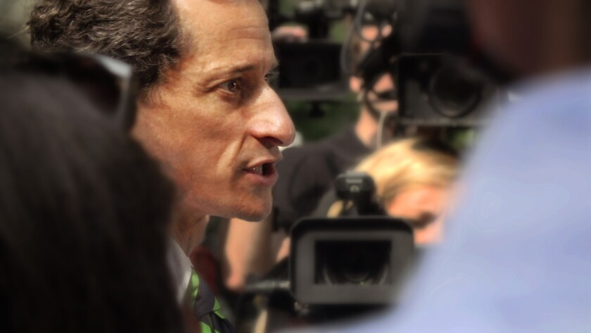 "Former U.S. congressman Anthony Weiner in the political documentary ""Weiner."""
