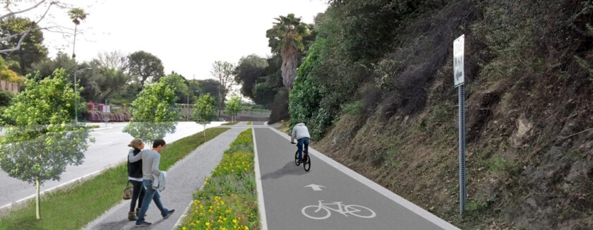 A rendering of eastbound Foothill Boulevard, west of Rosebank Drive, illustrates a plan by city officials to install a pedestrian walkway and Class I bike path, taking advantage of a $1.3 million grant from the Metropolitan Transportation Authority. If all goes well, construction could begin in 2019.