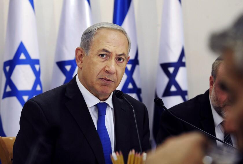 Israeli Prime Minister Benjamin Netanyahu attends the weekly Cabinet meeting Sunday in Sde Boker, Israel.