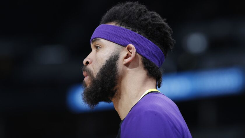Los Angeles Lakers center JaVale McGee (7), r m