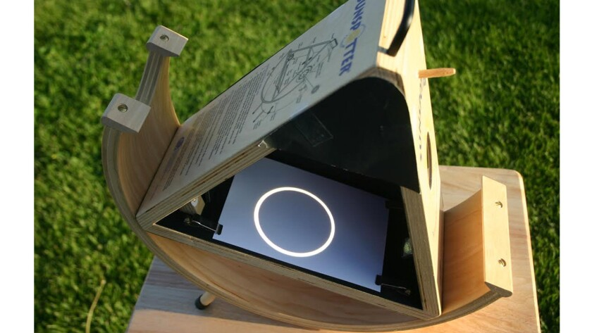 The Sunspotter is a projection device that allows groups of people to safely observe the Sun at the same time.