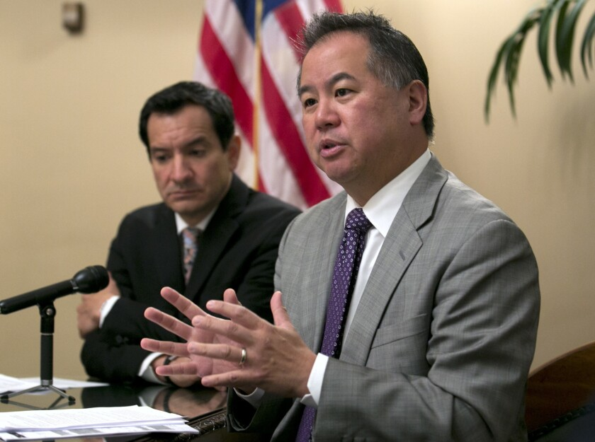 Assemblyman Phil Ting  discusses the state budget agreement in 2017 accompanied by Assembly Speaker Anthony Rendon