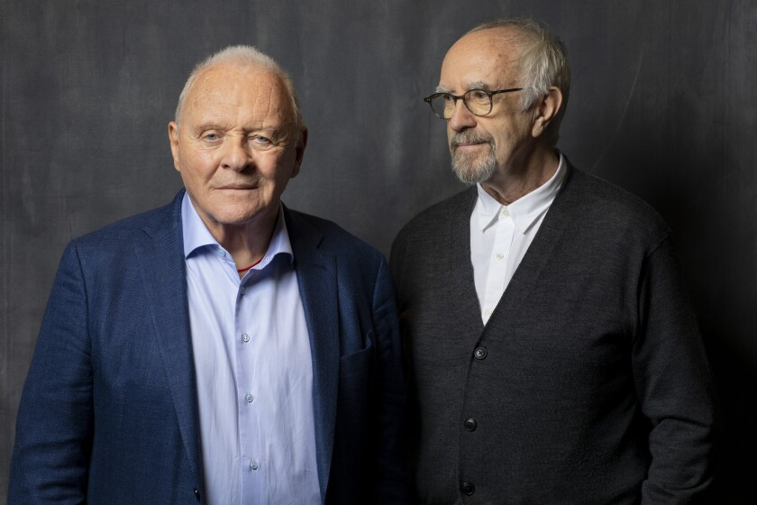 """Anthony Hopkins and Jonathan Pryce, who star in """"The Two Popes,"""" photographed in Los Angeles on Nov. 18, 2019."""