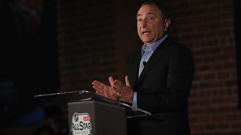 2019 NHL All-Star - NHL Commissioner Gary Bettman Press Conference And Innovation Spotlight