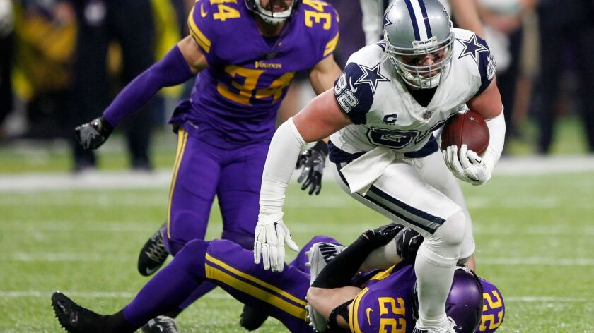 FILE - In this Thursday, Dec. 1, 2016, file photo, Dallas Cowboys tight end Jason Witten (82) is tac