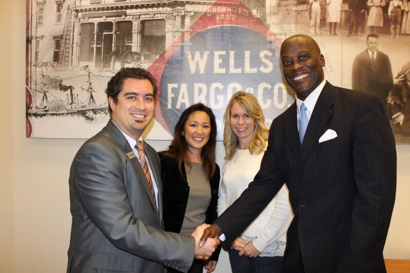 Joshua Barker, branch manager of Wells Fargo of Torrey Hills with Sage Canyon School parents Dr. Wendy Ark and Diana Li and Del Mar Schools Education Foundation President Ty Humes.