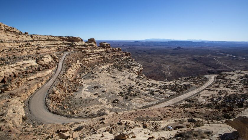 View of the Moki Dugway, a switchback road carved into the face of the Cedar Mesa cliff edge in Mexican Hat, Utah on Dec. 14, 2018. President Trump has removed the area from the Bears Ears National Monument.