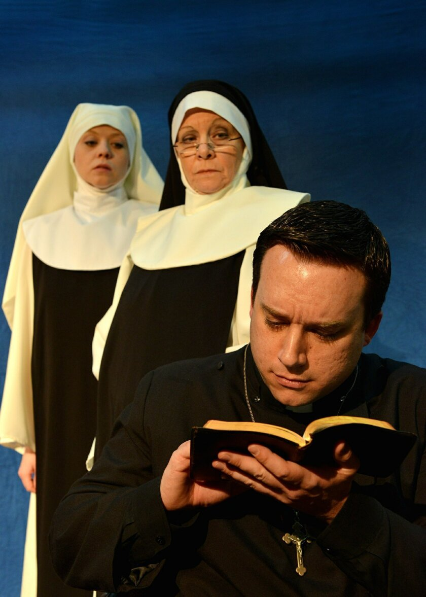 """Lena Michelle Jones, Kate Hewitt and Rob Conway in PowPAC, Poway's Community Theatre's production of """"Doubt: A Parable."""" CREDIT: Tony Eisenhower"""