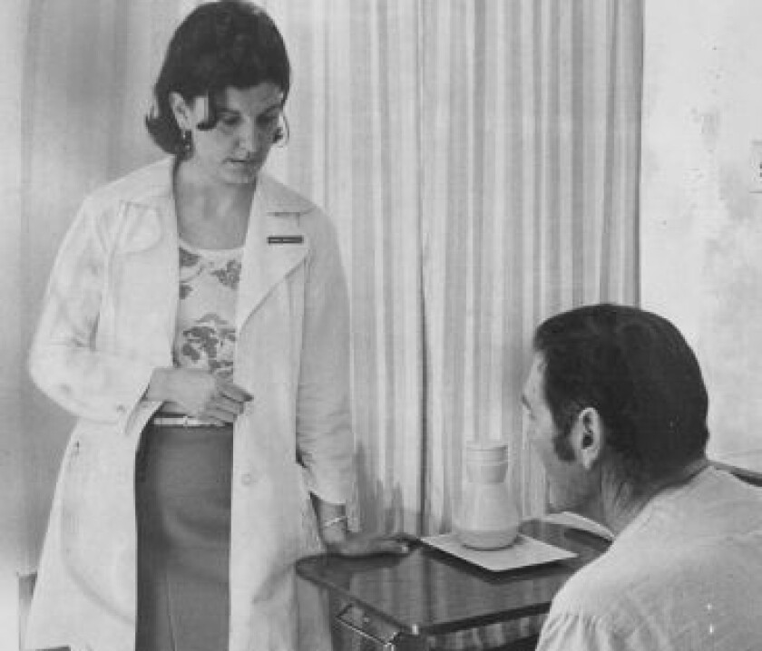 As an intern in 1977, Marion Moses inquires about the health of a patient.
