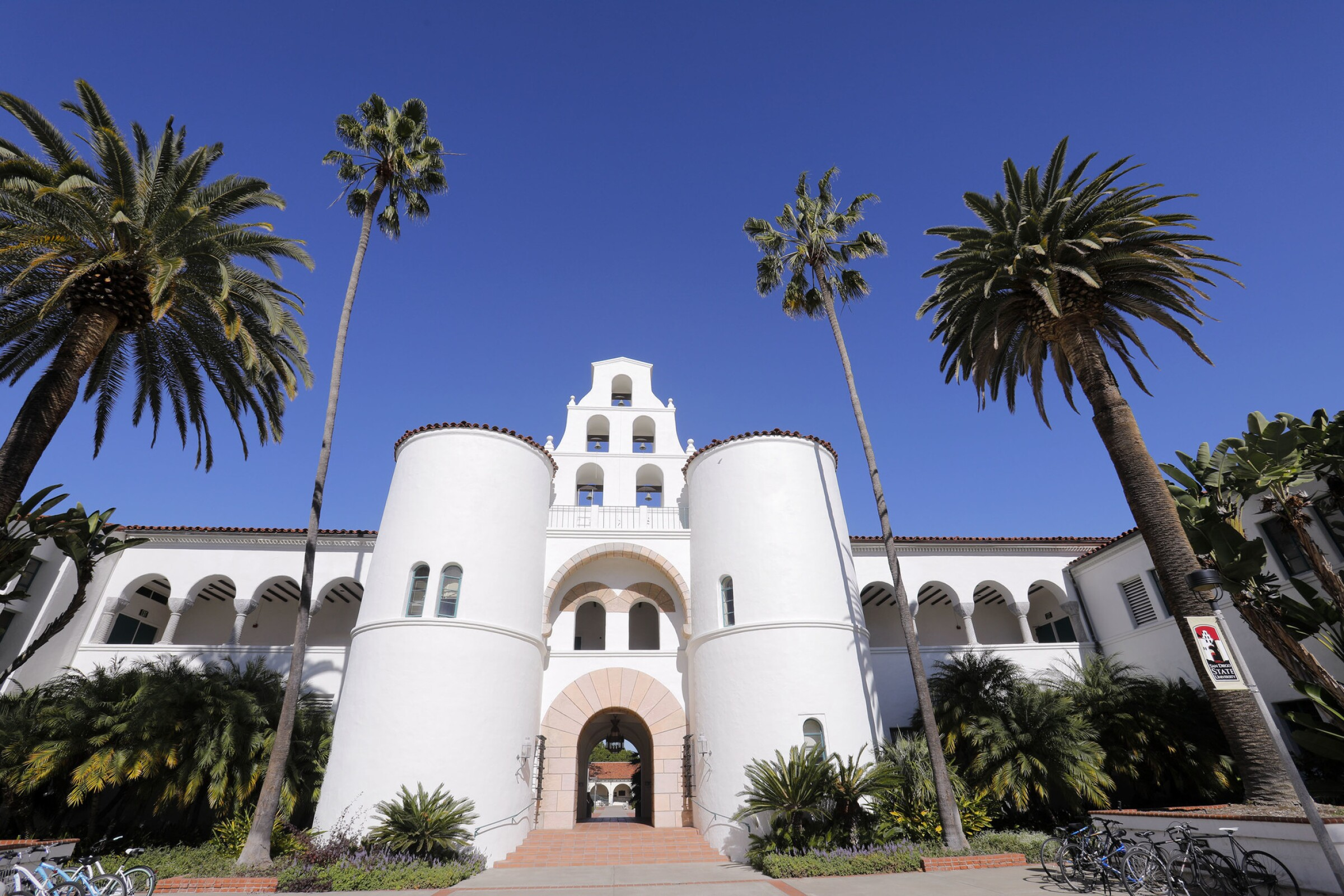The iconic Hepner Hall on the campus of San Diego State University was completed in 1931.