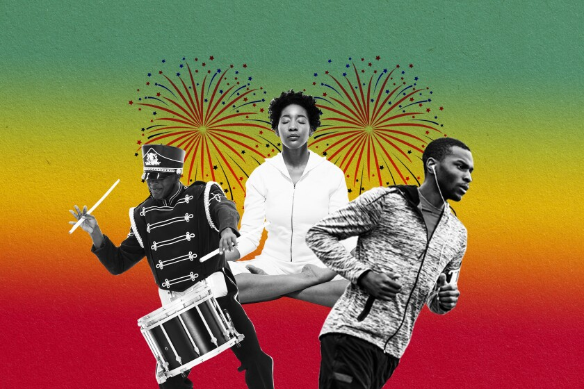 Illustration of a marching band drummer, a woman meditating and a man running with fireworks going off in the background.