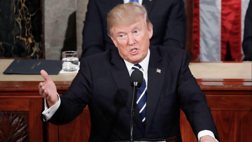 President Trump speaks before Congress last year.