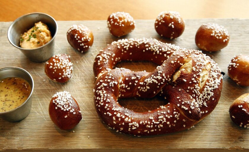 Chef Colin MacLaggan of Ballast Point Brewery uses food-grade lye to get the mahogany color in his Bavarian pretzels.