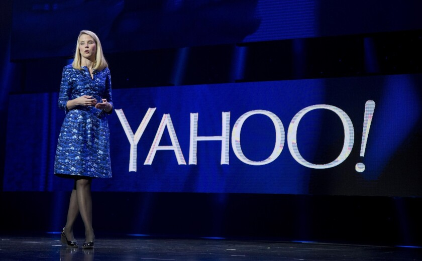Yahoo's share of the search market in the United States climbed last month as its search engine became the default option on the latest version of the Firefox browser. Above, Yahoo Chief Executive Marissa Mayer in January 2014.