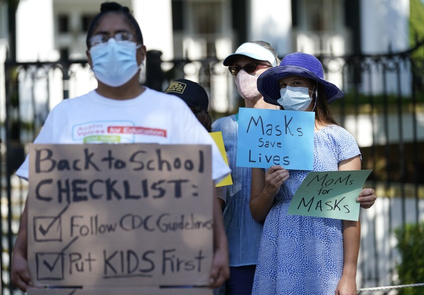 Students and parents gather   to urge Texas Gov. Greg Abbott to drop his opposition to public school mask mandates.
