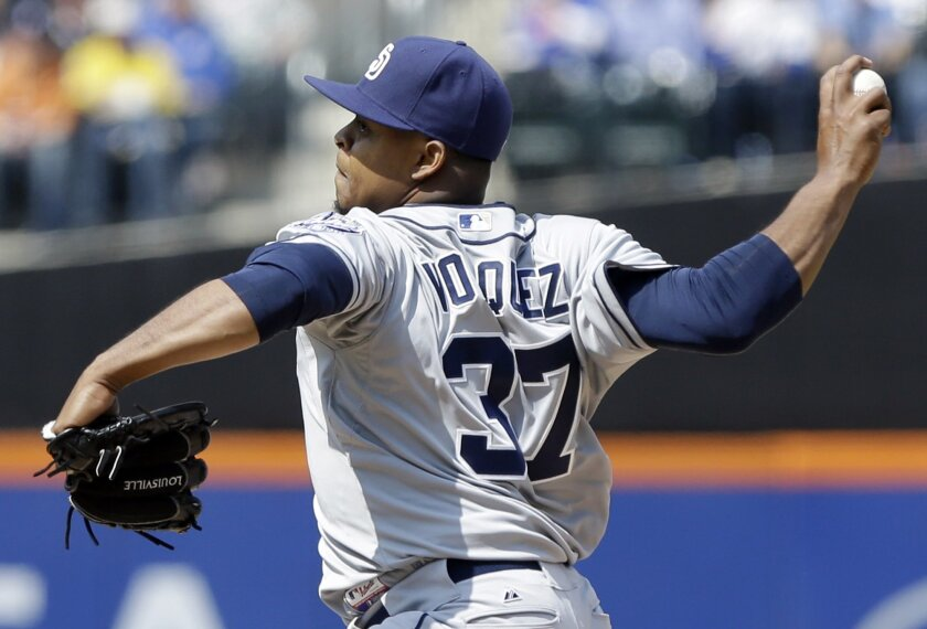 San Diego Padres starting pitcher Edinson Volquez (37) delivers a pitch during the first inning of an opening day baseball game against the New York Mets.
