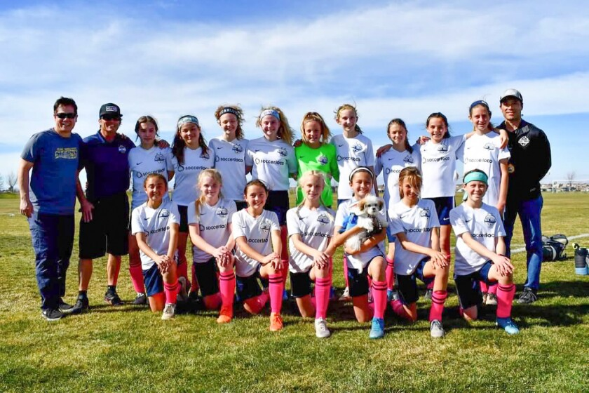 Coaches Rick Schmitt, Kevin O'Regan , Mark Tichenor with players (back row): Aasha Brocious, Trinity Ludena, Emery Gonzales, Morgan Christie, Natalie Cohen, Elsa Demko, Avery Maki, Kate Flynn, Julia Morris. Front row: Bella Bravo, Lia Southcombe, Ashley O'Regan, , Katie Janis, Katie Schmitt, Mascot Ellie, Taylor Munsch and Kaylee Tichenor (Not pictured Haidyn Lorenzen)
