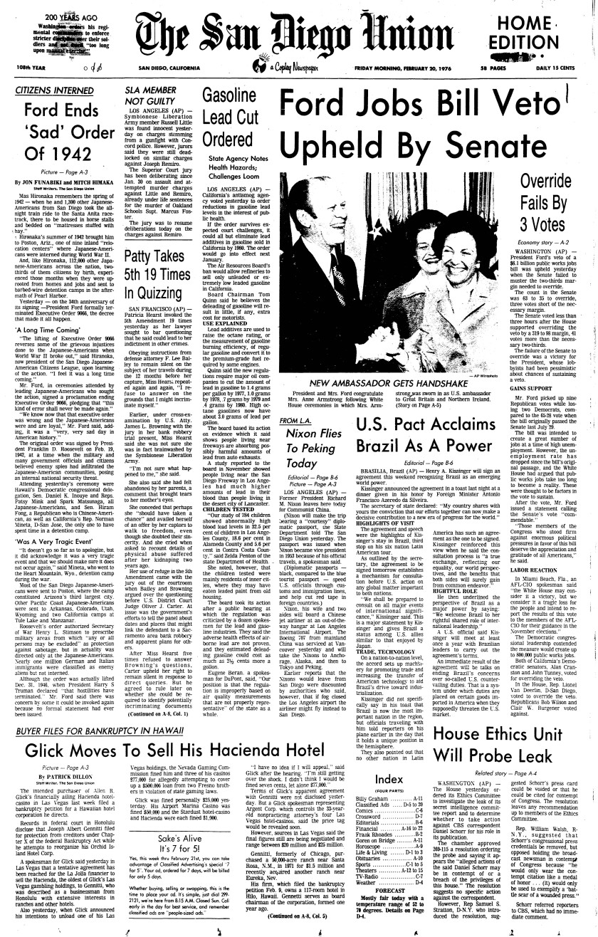 Front page of the San Diego Union newspaper from Feb. 20, 1976