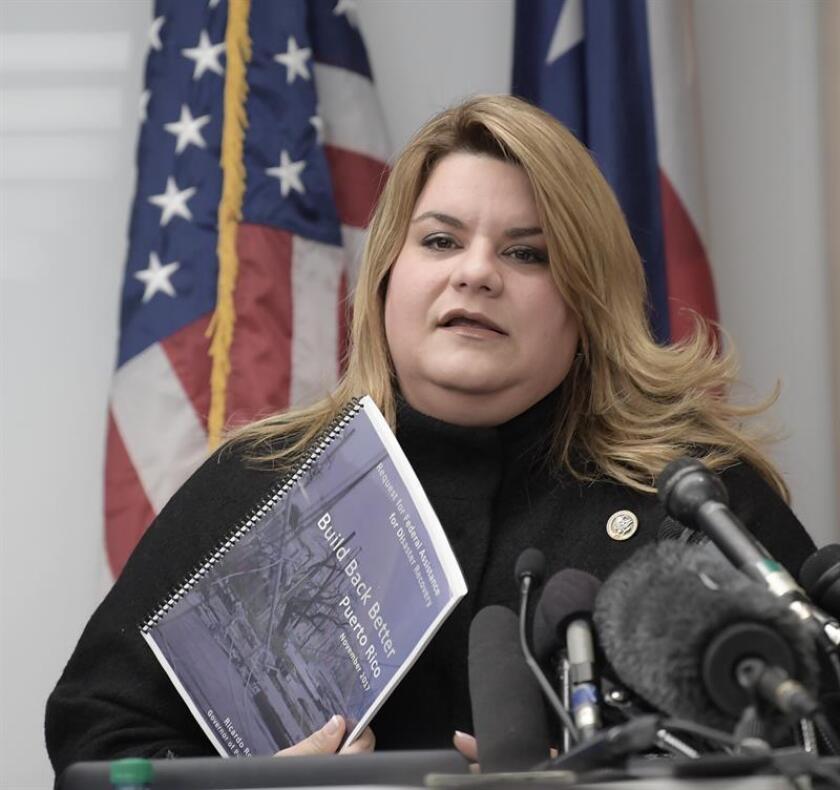 La comisionada residente de Puerto Rico en Washington, Jenniffer González durante una conferencia de prensa. EFE/Archivo
