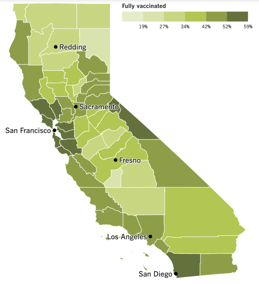 A map of California that shows the vaccination rates by county