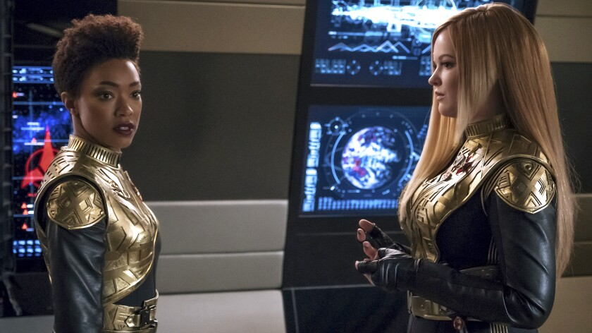 """Sonequa Martin-Green and Mary Wiseman in """"Star Trek: Discovery"""" on CBS."""