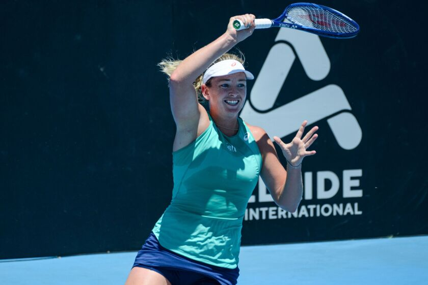 CoCo Vandeweghe hits a return against Bernarda Pera during their first session at the ATP Cup Adelaide International tennis tournament in Adelaide, Australia on Jan.12.