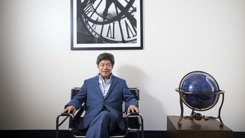 Donald Tang, the founder of Tang Media Partners, which owns Global Road Entertainment, is shown at Tang Media's headquarters in Century City.