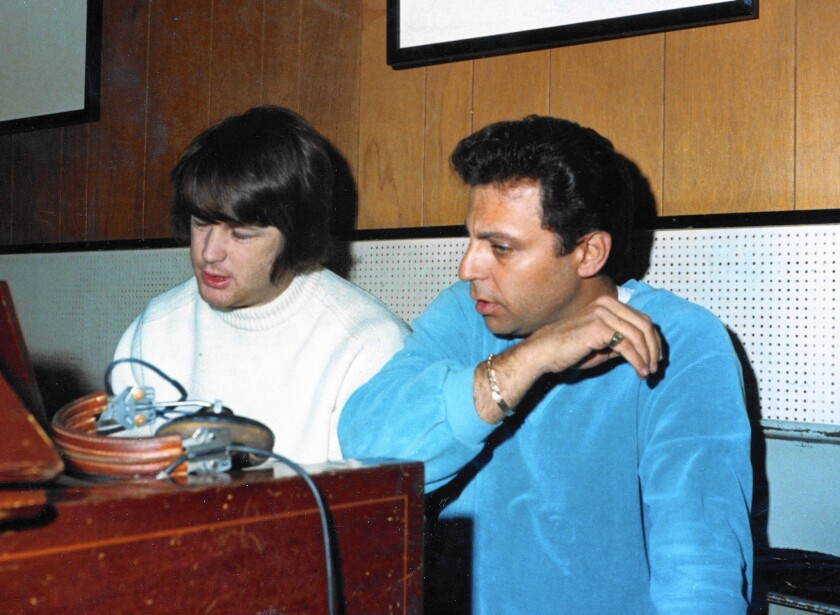 """""""I mainly worked in the studio with the Wrecking Crew to achieve what I wanted,"""" said Beach Boys creative leader Brian Wilson, pictured with drummer Hal Blaine."""