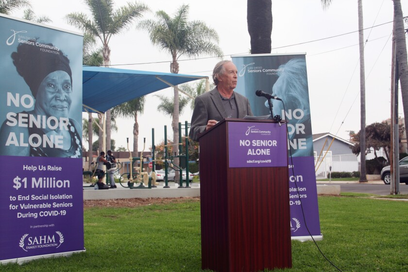 San Diego Seniors Community Foundation founder Bob Kelly launch the nonprofit's No Senior Alone initiative in October.