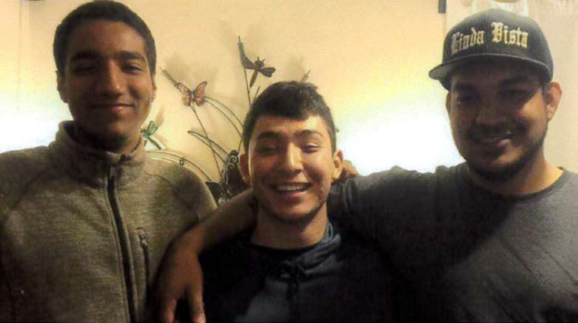 Angel Hernandez (right), his cousin, Ricky, (center) and Hernandez's brother, Tai, in 2019.