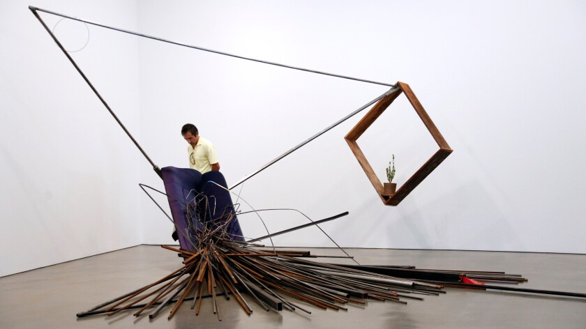 """Autoconcancion VI,"" by Abraham Cruzvillegas, at Regen Projects."
