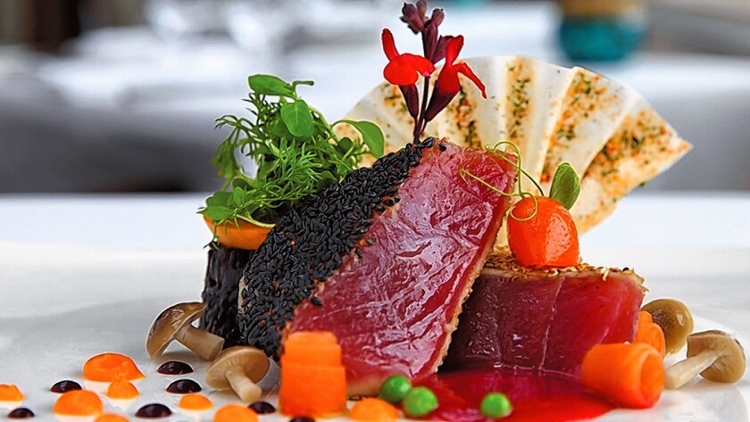 Togarashi Sesame Spiced Ahi Tuna served at The Marine Room, 2000 Spindrift Drive, La Jolla. (858) 459-7222, marineroom.com