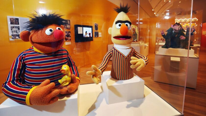 LOS ANGELES, CA – May 29, 2018: The Bert puppet, 1970's and Ernie puppet, 1980's on exhibit at The