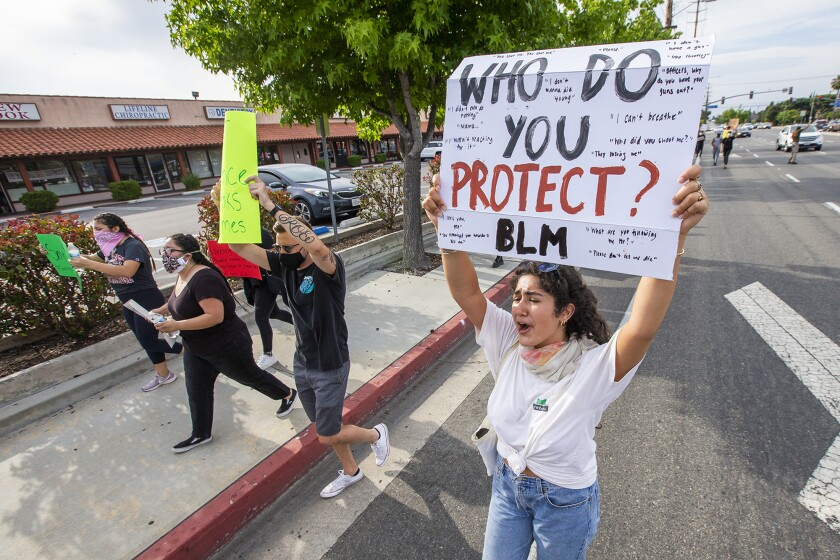 A protest takes place at OC Fair and Event Center June 2.