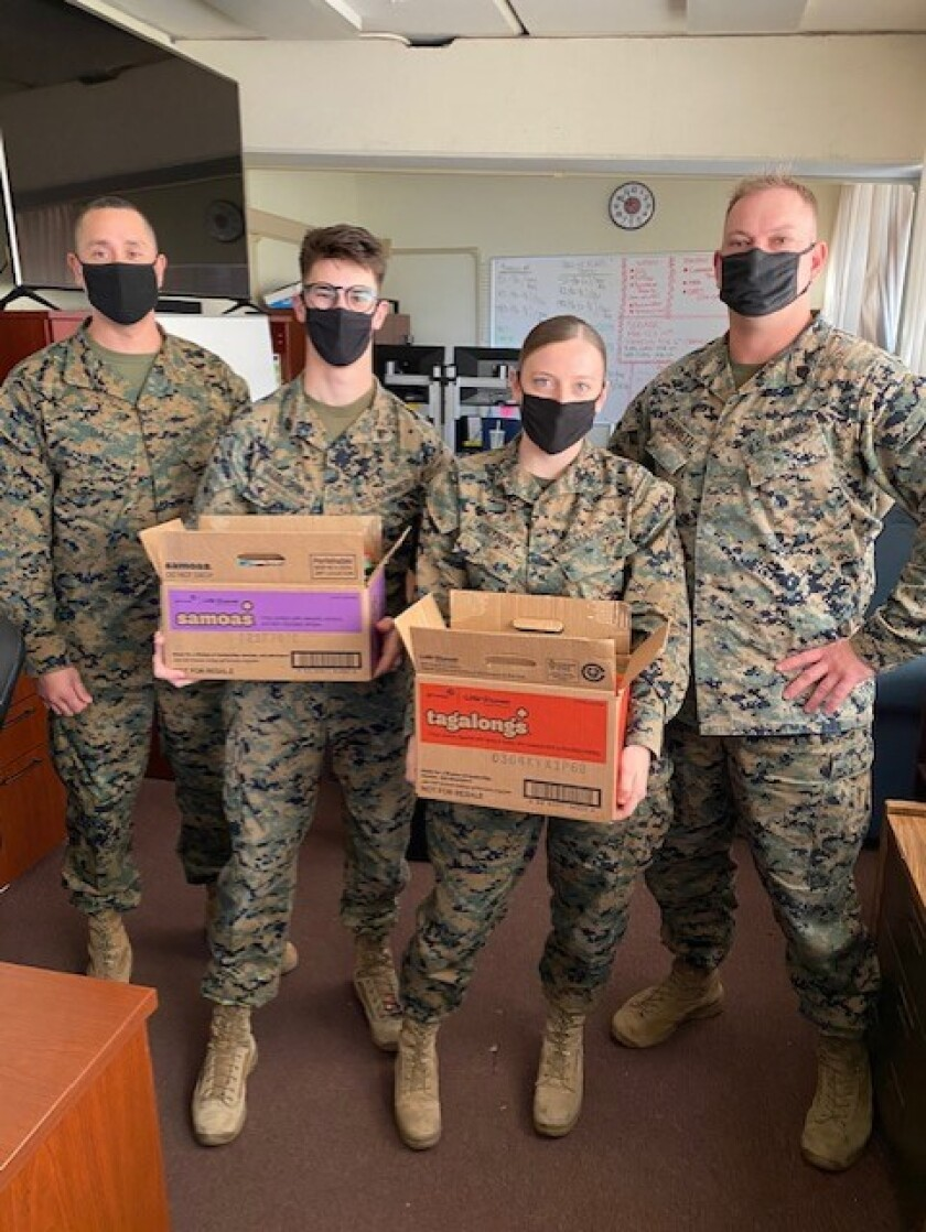 Marines get girl scout cookies