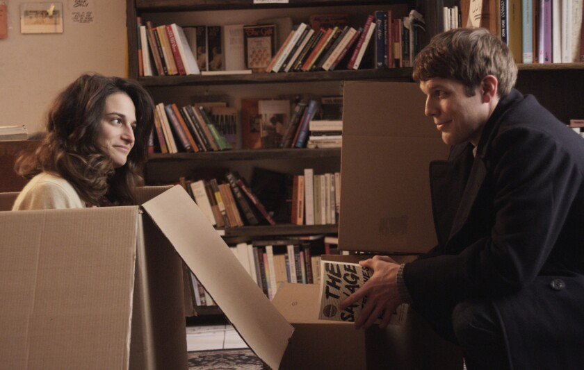 "Jenny Slate and Jake Lacy in the movie ""Obvious Child."""