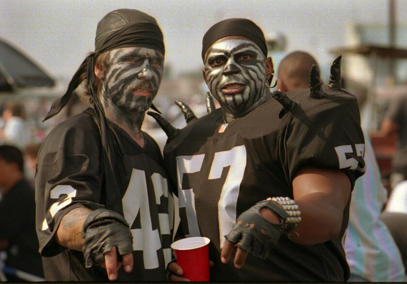 Raiders fans tailgate before a game in 1993. Could any new Los Angeles NFL team inspire this kind of fandom?