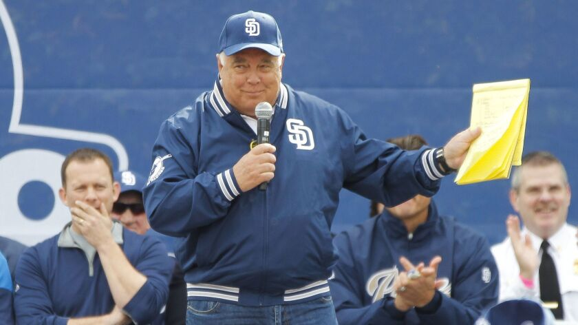 Ron Fowler, executive chairman of the Padres, is shown at a Celebrate San Diego event in February 2017. Fowler said a Twitter comment making light of suicide, recent format changes and more is causing the team to re-evaluate its radio contract.