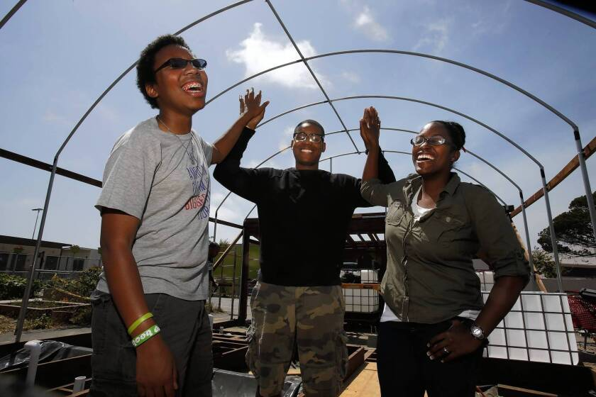 Westchester Enriched Sciences Magnet High students Jordan Keligond, left, Isaiah Dunn and Mia Brumfield are part of a team creating an aquaponic garden on campus to make their school a hub for healthful food.