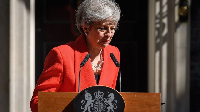 British Prime Minister Theresa May speaks May 24 outside 10 Downing Street in London.