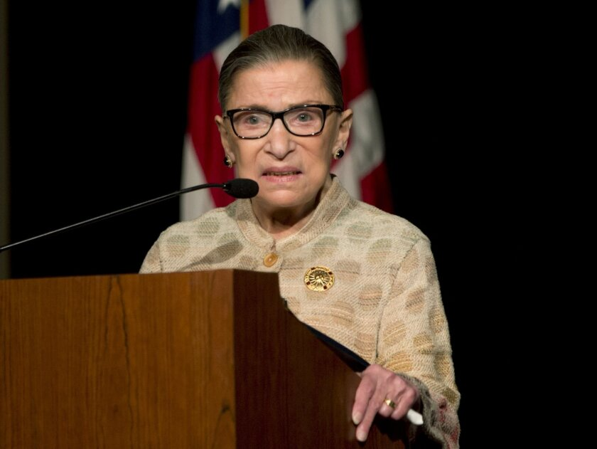Supreme Court Justice Ruth Bader Ginsburg speaks at the U.S. Court of Appeals Second Circuit Judicial Conference on Thursday, May 26, 2016, in Saratoga Springs, N.Y. (AP Photo/Mike Groll)
