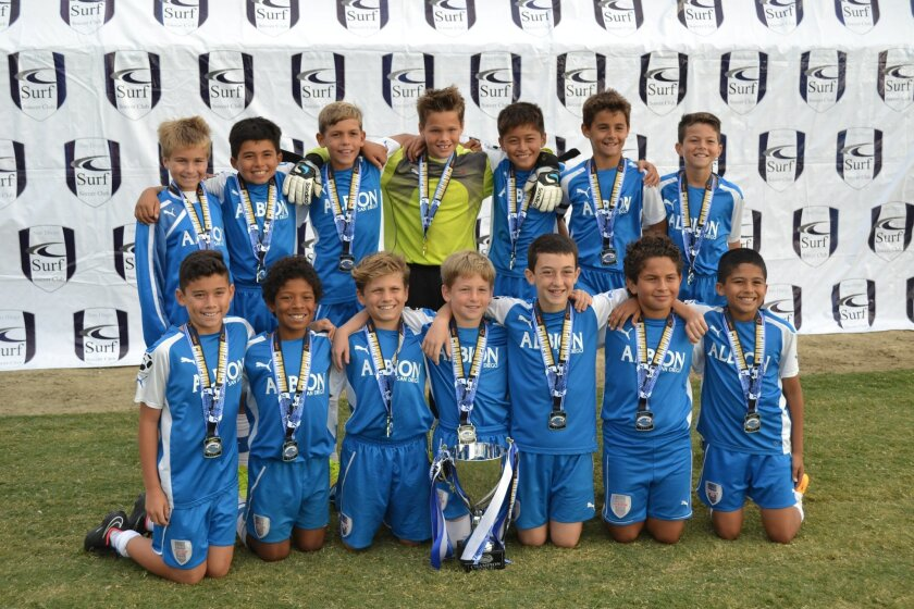 The Albion BU11 White team has won the Surf Thanksgiving Cup three years in a row.