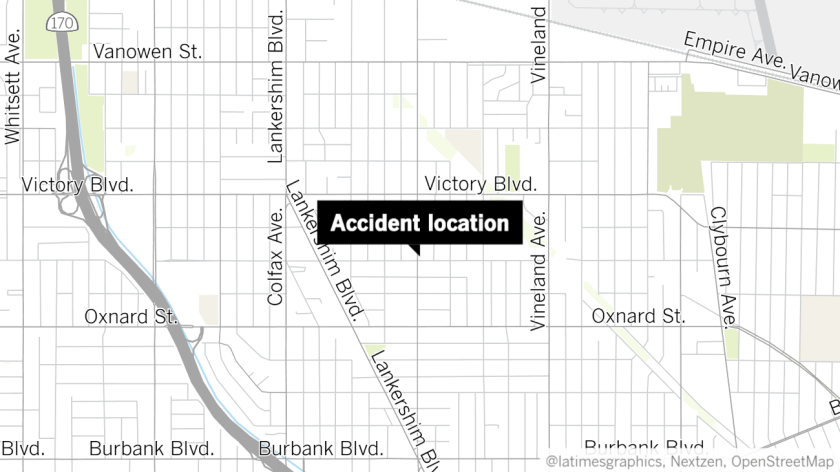 Accident location in North Hollywood