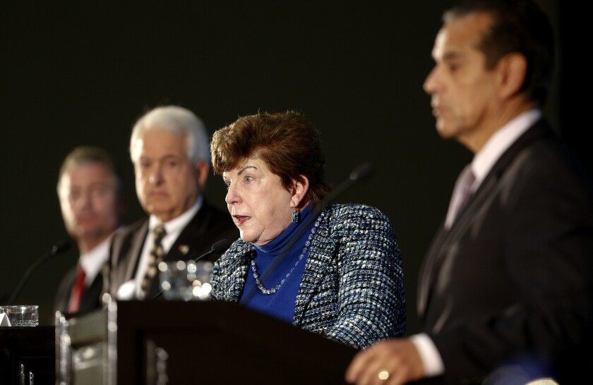 Delaine Eastin (Democrat) takes on a question asked by the panel of local journalist during Sunday's California Gubernatorial Candidates'