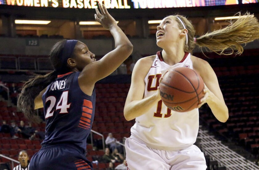 Senior forward Cassie Harberts, right, is the second-leading scorer and leading rebounder for USC with averages of 15.6 points and 7.4 rebounds game.