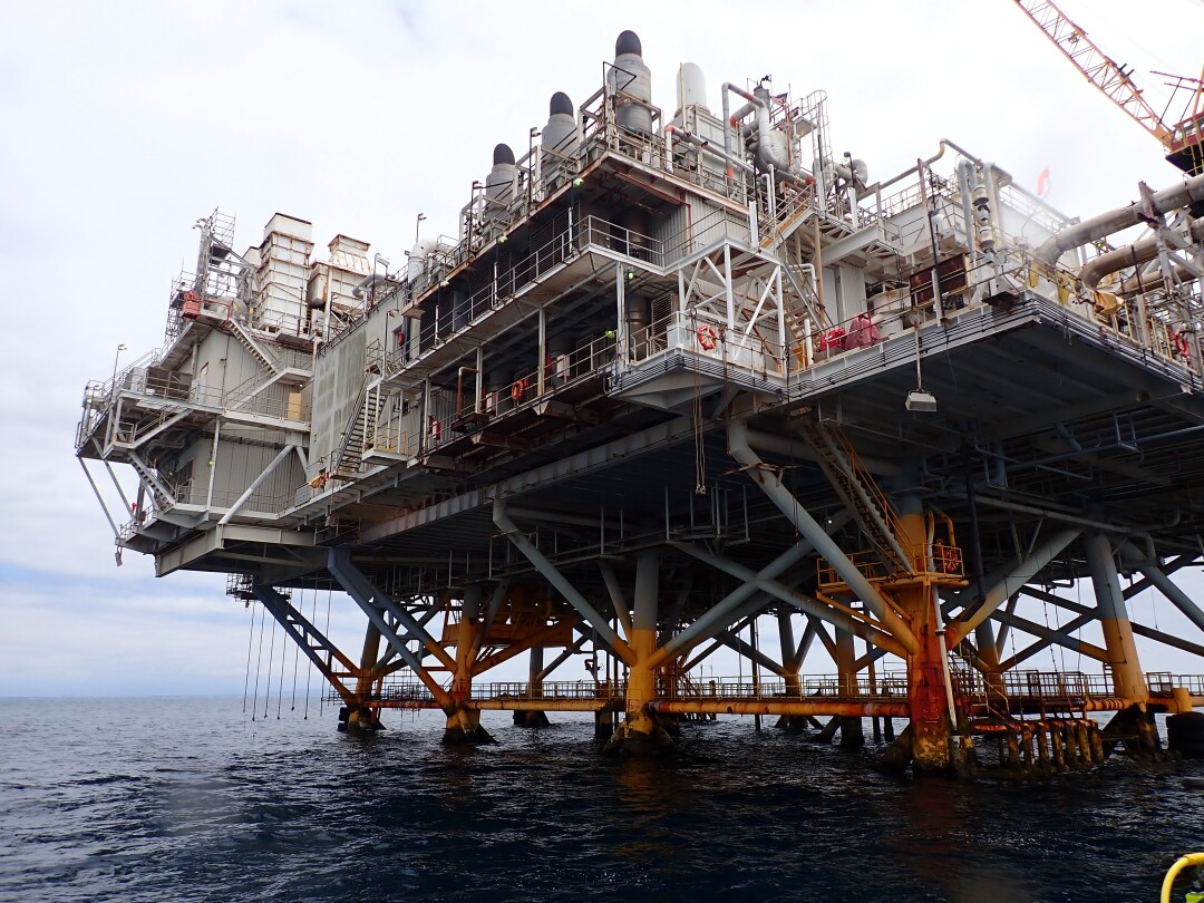 Photos of the oil platform Elly taken by Paige Zhang