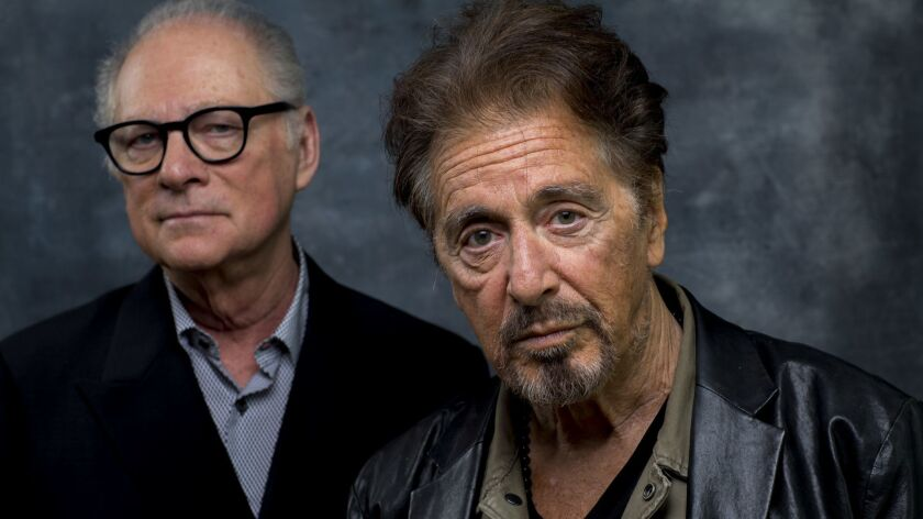 "Academy Award winner Al Pacino, right, stars as the disgraced football coach in HBO's ""Paterno,"" directed by Barry Levinson."