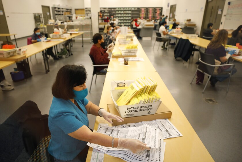 County workers at the Registrar of Voters in San Diego
