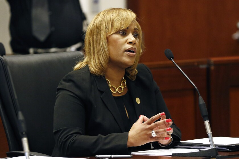 File - In this Sept. 17, 2018 file photo, Pelicia Hall, Mississippi Department of Corrections Commissioner. speaks before a meeting of the Joint Legislative Budget Committee Fiscal Year 2020 hearing in Jackson, Miss. A federal judge has rejected claims that conditions in a Mississippi prison are unconstitutionally harsh. His ruling comes amid violence at three other corrections facilities that resulted in the deaths of three inmates this week. U.S. District Judge William Barbour ruled Tuesday, Dec. 31, 2019, that while conditions may have previously been poor at East Mississippi Correctional Facility near Meridian, there's no longer any evidence that the privately run prison is violating inmates' rights. (AP Photo/Rogelio V. Solis, File)